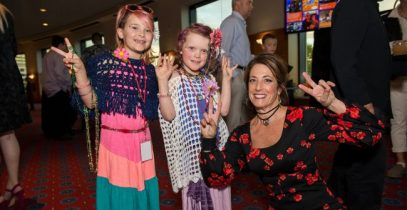 Regina with kids at 2017 Wonderball: Age of Aquarius